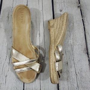 J. CREW GOLD WEDGE SANDALS